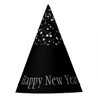 Petite Silver Stars Happy New Year Hat-Black Party Hat