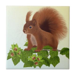"PetitRose ""Squirrel on Hazelnut Twig"" , Tile"