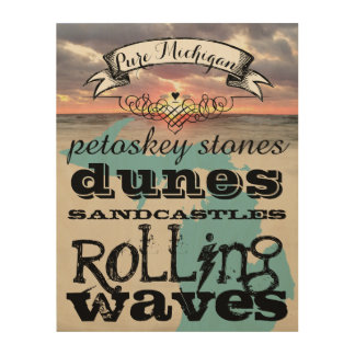 Petoskey Stones Dunes Sandcastles Rolling Waves Wood Canvas