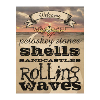 Petoskey Stones Shells Sandcastles Rolling Waves Wood Print