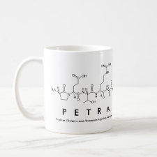 Mug featuring the name Petra spelled out in the single letter amino acid code