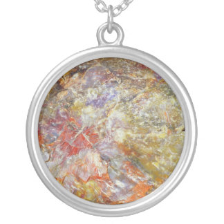 Petrified wood silver plated necklace