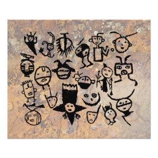 petroglyph collection Masks and Heads Photo Print