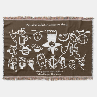 Petroglyph Collection, Masks and Heads Throw Blanket