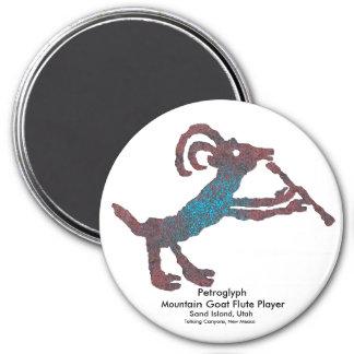Petroglyph, Mountain Goat Flute Player 7.5 Cm Round Magnet