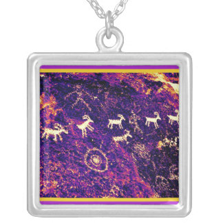 PETROGLYPHS AMERICAN SOUTHWEST, NEVADA DESERT SILVER PLATED NECKLACE