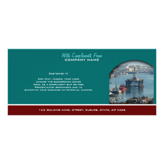 Petroleum customizable oil drilling rig watercolor rack card design