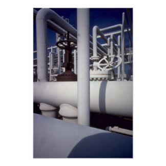 Petroleum refinery pipeline poster