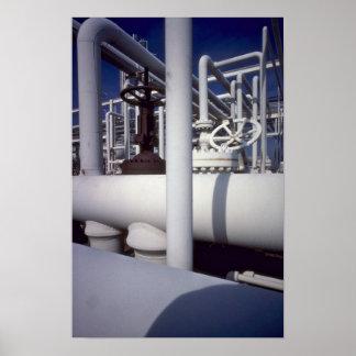 Petroleum refinery pipeline print