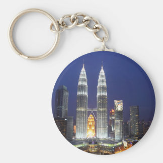 Petronas Towers illuminated at night Kuala Lumpur Basic Round Button Key Ring