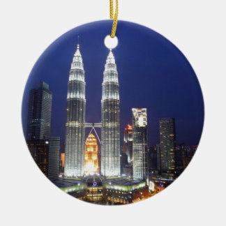 Petronas Towers illuminated at night Kuala Lumpur Round Ceramic Decoration