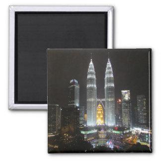 petronas towers night square magnet