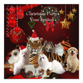 Pets Christmas Party Xmas Tiger Cats Dogs 13 Cm X 13 Cm Square Invitation Card
