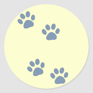 pets dog cat pawprints round sticker