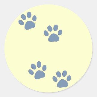 pets dog cat pawprints round sticker