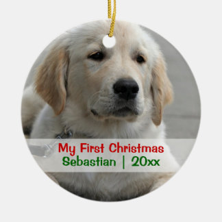 Pet's First Christmas Personalized Photo Template Christmas Ornament