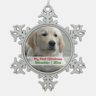 Pet's First Christmas Personalized Photo Template Snowflake Pewter Christmas Ornament
