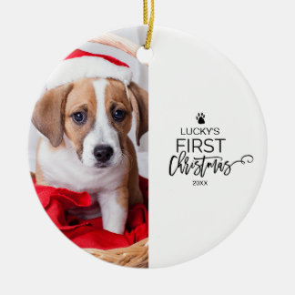 Pet's First Christmas Photo Holiday Christmas Ornament