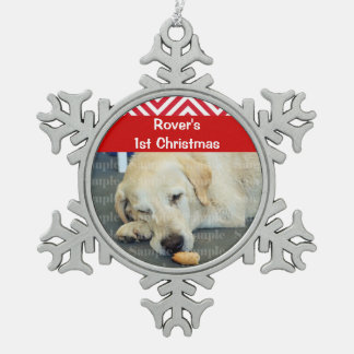 Pets first christmas photo PERSONALIZE Snowflake Pewter Christmas Ornament