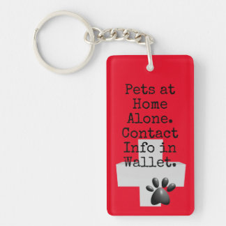 Pets ICE Contact Alert Double-Sided Rectangular Acrylic Key Ring