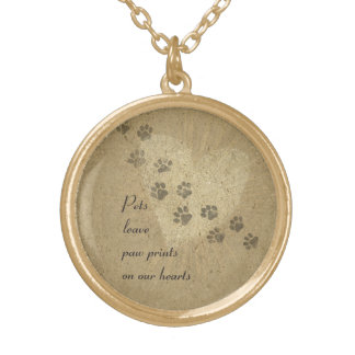Pets leave Paw Prints on our Hearts Gold Plated Necklace