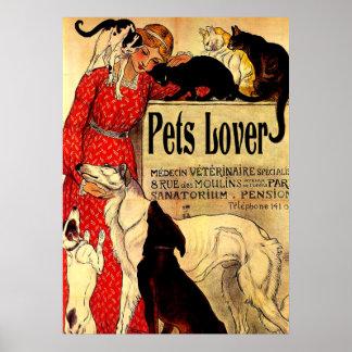 pets lover,vintage poster