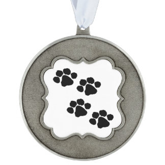 Pets Paw Prints For Animal Lovers Scalloped Ornament