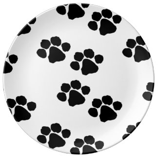 Pets Paw Prints For Animal Lovers Porcelain Plate