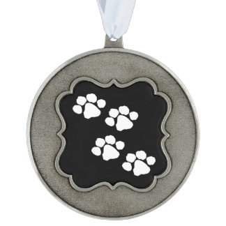 Pets Paw Prints Scalloped Pewter Ornament