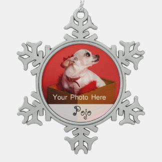 Pet's Photo Christmas Snowflake Pewter Christmas Ornament