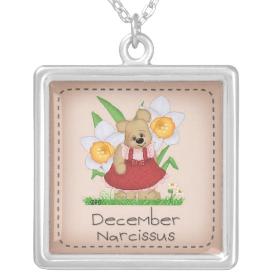 Pettibone Bear December Birth Flower Series Silver Plated Necklace
