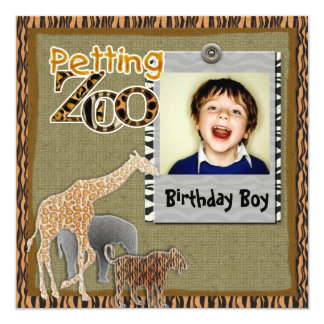 Petting Zoo wild safari Birthday Photo Invitation