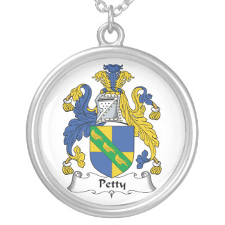 Petty Family Crest Round Pendant Necklace