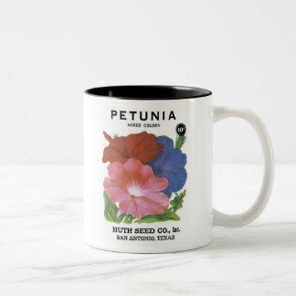 Petunia, Mixed Colors, Huth Seed Co Two-Tone Coffee Mug