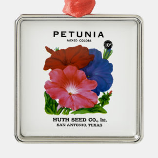 Petunia Vintage Seed Packet Silver-Colored Square Decoration
