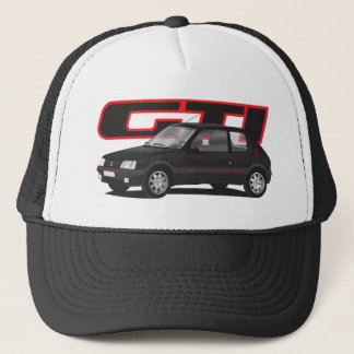 Peugeot 205 GTi with text, black Trucker Hat