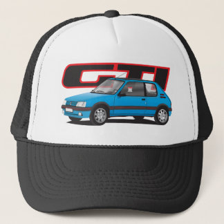 Peugeot 205 GTi with text, blue Trucker Hat