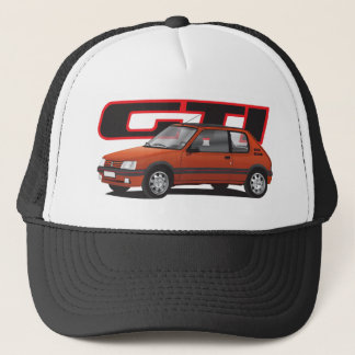 Peugeot 205 GTi with text, red Trucker Hat