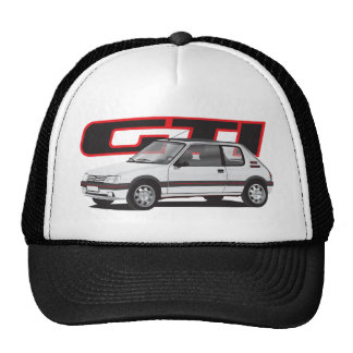 Peugeot 205 GTi with text, white Cap