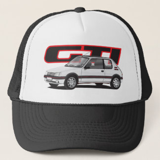 Peugeot 205 GTi with text, white Trucker Hat