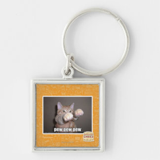 Pew pew pew Silver-Colored square key ring