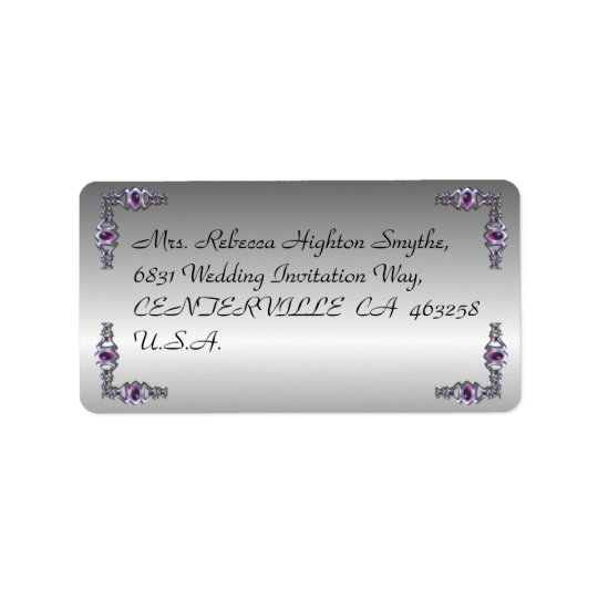 Pewter and Purple Jewel Wedding Address Label