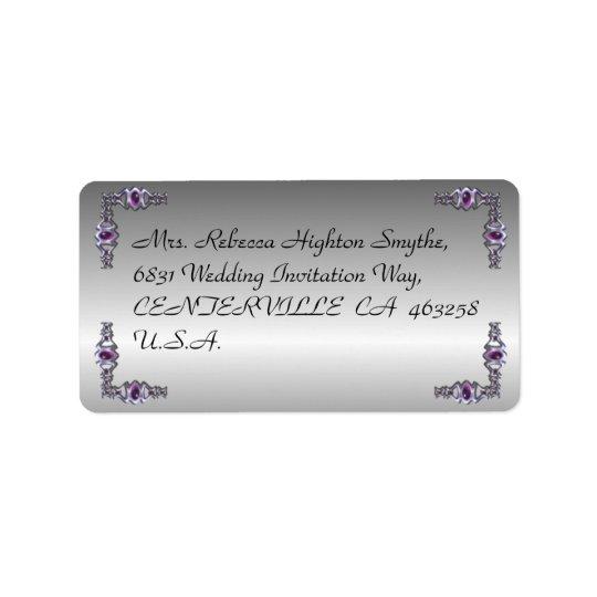 Pewter and Purple Jewel Wedding Label
