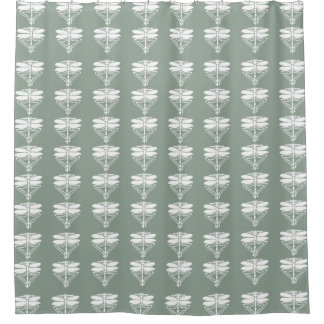 Pewter Arts and Crafts Dragonflies Shower Curtain