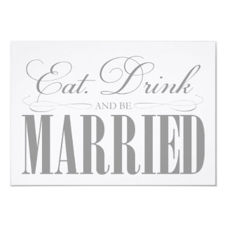 Pewter Eat, Drink & Be Married   Enclosure 9 Cm X 13 Cm Invitation Card