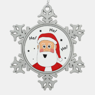 Pewter Ho! Ho! Ho! Santa Xmas Tree Ornament
