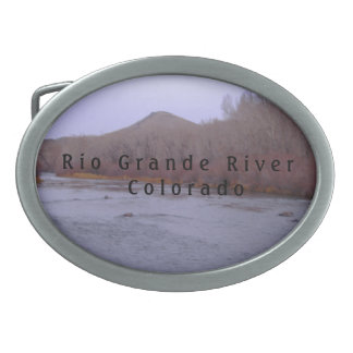 Pewter Rio Grande River Oval Belt Buckle