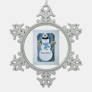 Pewter Snow flakes snowman Snowflake Pewter Christmas Ornament