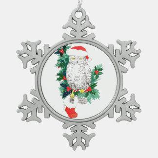 Pewter Snowflake Cute Wildlife Christmas Ornament