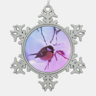 Pewter Snowflake Decoration Bird Snow